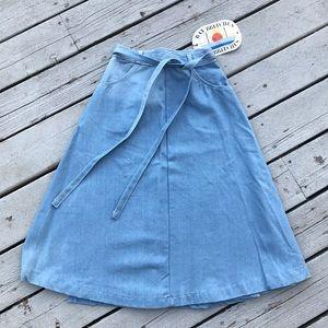 Light Denim Wash Wrap Skirt DEADSTOCK